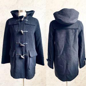 Burberry Black Wool Duffle Toggle Coat Classic 10